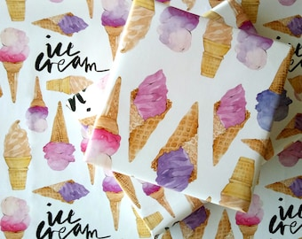 Gift Wrap featuring pastel aesthetic pink and purple Ice Cream Watercolour Illustrations