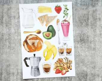 Breakfast Foods and Drinks Art Print A4 size featuring watercolour illustrations of All Things Breakfast