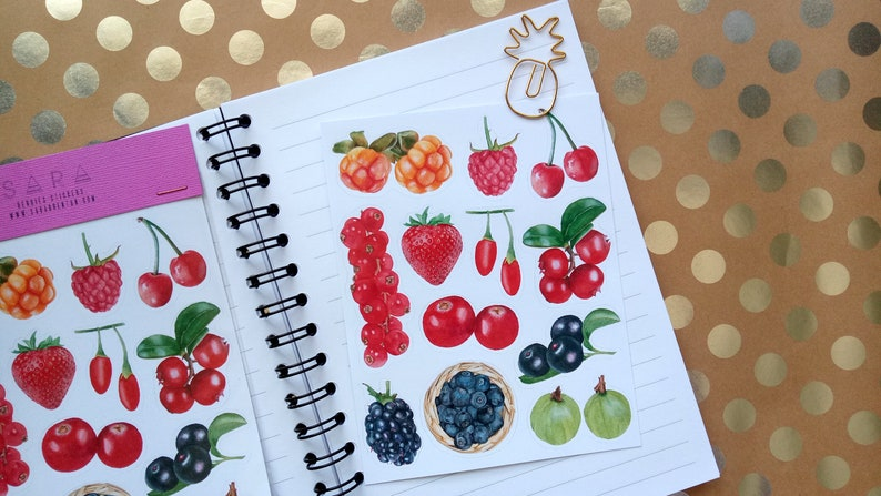 Fresh Berries Fruits Stickers 12 Glossy Stickers per sheet of image 0