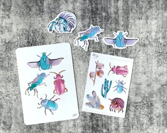 September 2021 Sticker Club Overstock Set of 1 x Postcard, 3 Large stickers plus 1 x Sticker Sheet with 6 Stickers