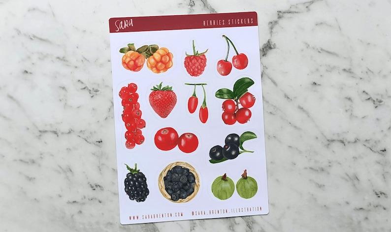 Fresh Berries Fruits Medium Stickers 12 Glossy Stickers per image 0