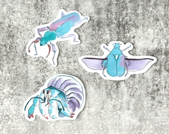 August 2021 Sticker Club Overstock Set of 3 Large watercolour illustration stickers