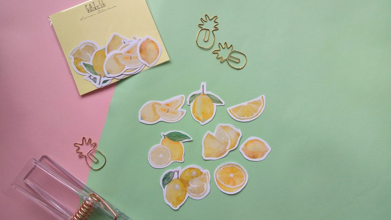 Lemon Watercolour Food Stickers 8 Glossy Stickers per pack image 0