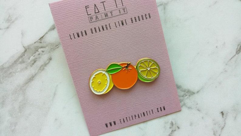 Lemon Orange Lime Brooch Lapel Pin Enamel Pin Badge in Yellow image 0