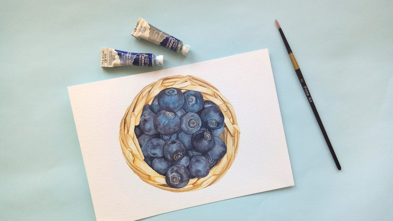Blueberries Original Food Illustration Watercolour image 0