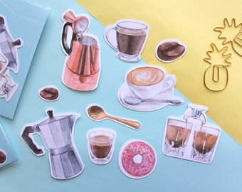 Coffee Illustrated Watercolour Food Stickers 10 Glossy Stickers per pack Sticker Set for Diary or Planner