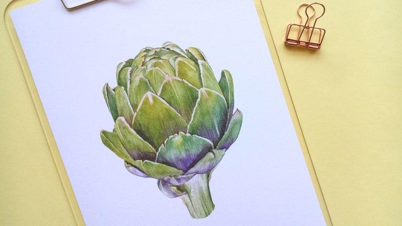 Artichoke Watercolour Illustration Food Art Print A4 Portrait image 0