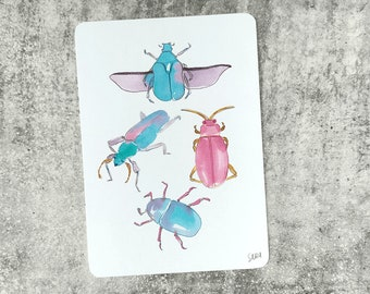 Pastel Insects Illustrated A6 Postcard with Rounded Corners 300GSM