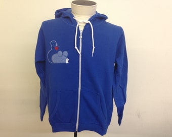 Cat and Mouse Applique Zip Hoodie