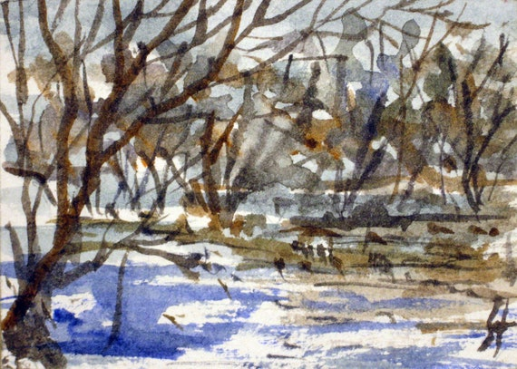 Original ACEO watercolor painting -  Thaw  - Miniature Painting, Small Painting - ACEO Landscape Watercolor 2.5 x 3.5 inches