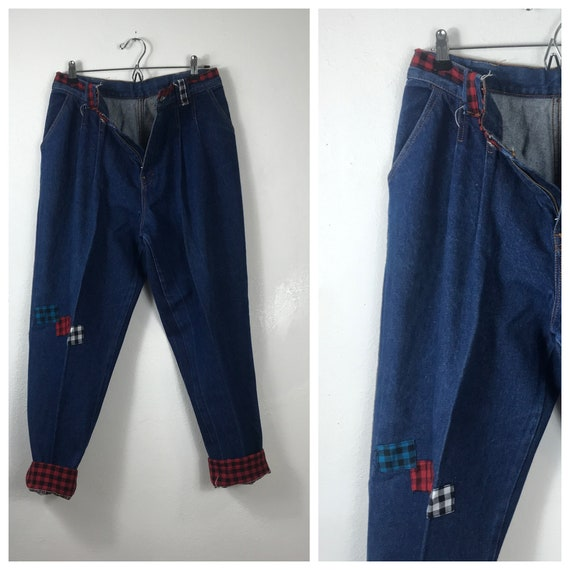 Holiday MOM JEANS - Plaid/Flannel Jeans
