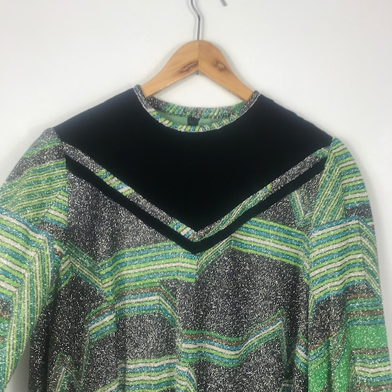 Shimmer Silver/Green 70s Blouse - Velvet