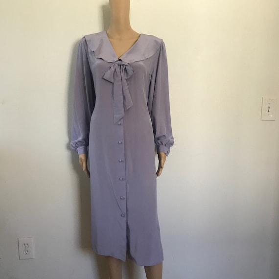 SILK Button Down dress / Peter Pan Collar /