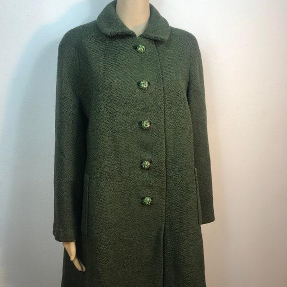 Emerald Green - Sage Green Coat / Long Coat / Pock