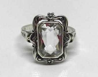 Sterling Silver Russian Crystal Handmade Ring.