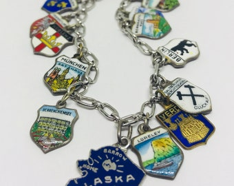Vintage European Travel Charm Bracelet