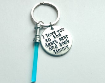 """I Love You to the Death Star and Back Hand Stamped 1"""" Aluminum Keychain with optional charm in the color of your choice, Christmas gift"""