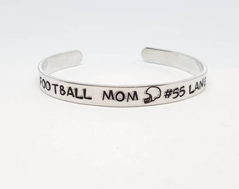"""Football Mom Hand Stamped Bracelet Aluminum Skinny Cuff with personalized number and name custom bracelet Christmas gift for mom 1/4"""" Wide"""