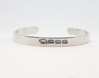 "Bears Hand Stamped Bracelet Aluminum Skinny cuff mama bear momma bear Cubs family Christmas bracelet Christmas gift - 1/4"" Wide"