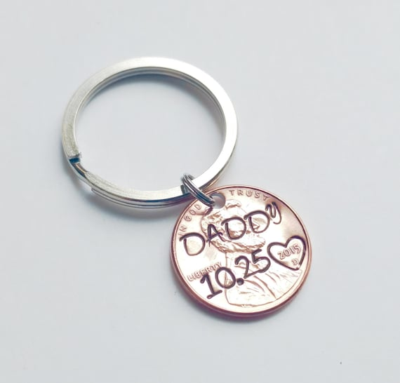Optional Heart Around the Year Personalized Hand Stamped Penny Keychain with personalized initials and date Custom Text Personalized Keychain