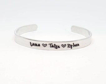 """Personalized Names Hand Stamped Bracelet Aluminum Skinny Cuff custom personalized bracelet Mother's Day gift mom gift idea grandma 1/4"""" Wide"""