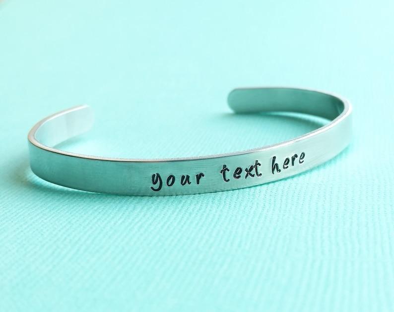 Customized Hand Stamped Bracelet Aluminum Skinny Cuff Bangle image 1