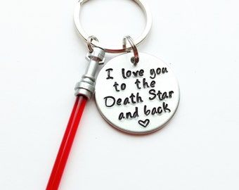 """I Love You to the Death Star and Back Hand Stamped 1"""" Aluminum Keychain with optional charm in color of choice, gift for him Christmas gift"""