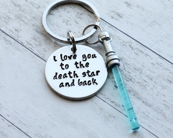 """I Love You to the Death Star and Back Hand Stamped 1"""" Aluminum Keychain, optional charm in color of your choice valentines day gift for him"""