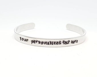 """Personalized Hand Stamped Bracelet Aluminum Skinny Cuff Bangle Stamped Cuff Personalized Custom Mother's Day Christmas gift - 1/4"""" Wide"""