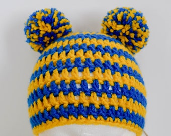 c61dec59143 Blue   Yellow Beanie-Yellow and Blue Hat-Hat with Pom Poms-Christmas Gift  for kids-Christmas Gift Idea-Stripy Blue and Yellow Hat