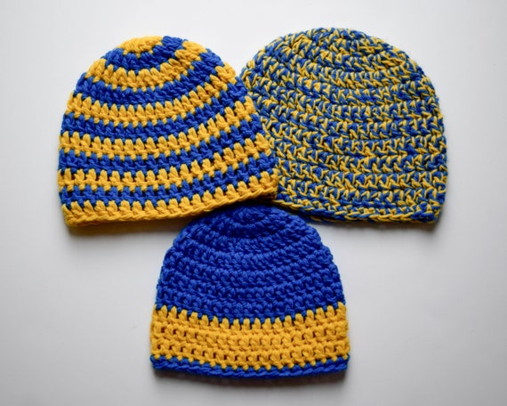 Blue   Yellow Beanie-Yellow and Blue Hat-Christmas Gift Idea  bcf2718a191