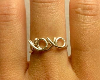 xoxo Ring - 14K Gold /Rose Gold-Filled /Sterling Silver -Hugs and Kisses Love xo -Couples Girlfriend Wife -Adjustable -Graduation