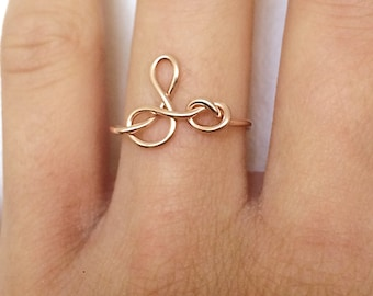 Initial Knot Letter Knot Ring -Gold /Rose Gold /Sterling Silver -Monogram /Uppercase Lowercase J O A M K S L /Script /Bridesmaid -Adjustable
