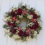 Dried Flower Wreath, German Statice Wreath, Green, Pink and Burgundy Wreath, Dried Floral Wreath, Hydrangea Wreath, Burgundy Dried Wreath