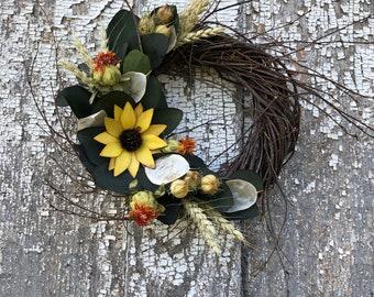 Dried Flower Wreath, Sola Sunflower Wreath, Sunflower Dried Flower Wreath, Sola Flower Wreath, Preserved Eucalyptus Wreath
