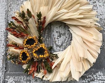 Cornhusk Wreath, Dried Flower Wreath, Wreath, Fall Wreath, Wall Decor,  Door Decor, All Natural Wreath,Dried Floral Wreath, Sunflower Wreath