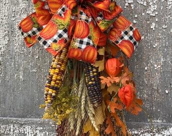 Indian Corn Swag, Fall Swag, Fall Corn Swag, Fall Door Decoration, Corn Swag, Broom Corn Swag, Broom Corn, Fall Door Decor, Fall Ribbon