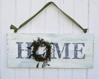 Home Sign with Wreath, Wooden Home Sign, Painted Home Sign with Wreath, Decorated Home Sign, Farmhouse Home Sign
