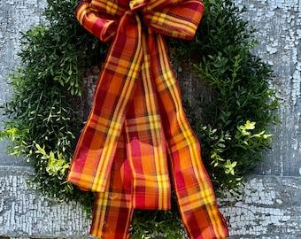 Faux Boxwood Wreath, Faux Boxwood Wreath with Fall Bow, Plaid Fall Bow, Fall Outdoor Wreath, Faux Fall Boxwood Wreath