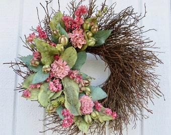 Dried Flower Wreath, Twig Wreath, Handmade Twig Wreath, Pink and Green Wreath, Pink and Green Twig Wreath, Dried Flower Wreath