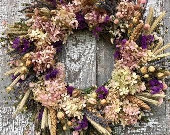 Dried Flower Wreath, Dried  Lavender Wreath, Cottage Wreath, Dried Hydrangea  Wreath, Dried Floral Wreath, Purple Wreath, Wall Decor