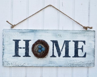 Home Sign with Wreath, Painted Home Sign with Wreath, Decorated Home Sign, Farmhouse Home Sign