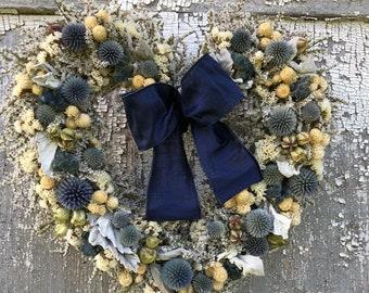 German Statice Wreath, Blue German Statice Wreath, Dried Heart Wreath, Dried Wreath, Globe Thistle Wreath, Blue Wreath, Dusty Miller