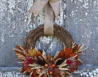 Fall Wreath, Fall Dried Flower Wreath, Small Fall Wreath, Crescent Fall Wreath, Oak Leaves on Twig Wreath, Acorn Wreath