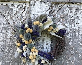 Dried Flower Wreath, Blue Wreath, Blue Dried Flower Wreath, Purple Dried Flower Wreath, Dust Miller Wreath, Globe Thistle Wreath,Twig Wreath