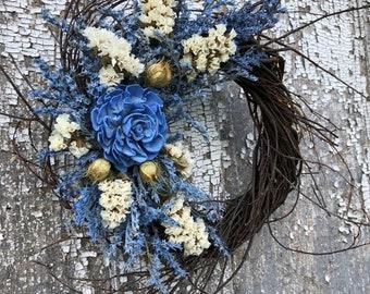Dried Flower Wreath, German Statice Wreath, Blue Dried Flower Wreath, Sola Flower Wreath, German Statice Wreath,  Blue Sola Flowers,