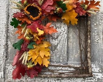 Square Wreath, Square Twig Wreath, Fall Dried Flower Wreath, Dried Flower Square Wreath, Square Pole wreath, Wall Decor, Dried Floral Wreath