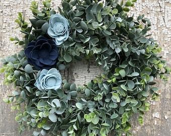 Faux Eucalyptus Wreath, Sola Flower Wreath, Faux Eucalyptus and Sola Wreath, Blue Wreath