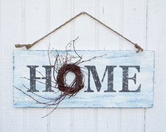 Home Sign with Wreath, Painted Home Sign with Wreath, Decorated Home Sign, Farmhouse Home Sign, Farmhouse Home Sign with Wreath