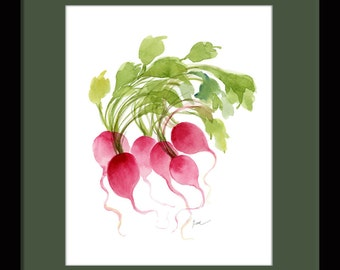 "Radish Bunch. Watercolor vegetable. Watercolor art Giclée print. Watercolor radishes. 8""x10"""